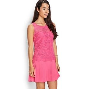 NWT lace pleated dress bright pink
